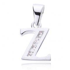 Stříbrný přívěsek se zirkony - písmeno Z