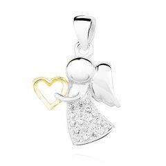 Stříbrný přívěsek - anděl s pozlaceným srdíčkem