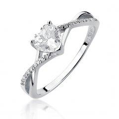 Jemný stříbrný prsten - srdce čiré