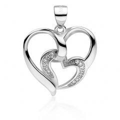 Stříbrné srdce s vloženým srdíčkem