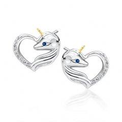 Stříbrné náušnice - jednorožec v srdci, zlacený roh