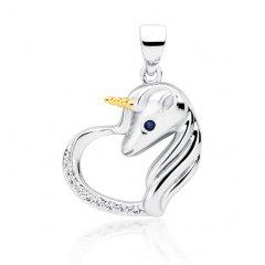 Stříbrný přívěsek - jednorožec v srdci, zlacený roh