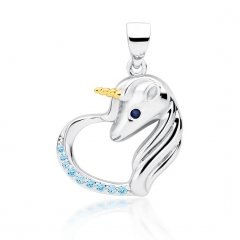 Stříbrný přívěsek - jednorožec v tyrkysovém srdci, zlacený roh