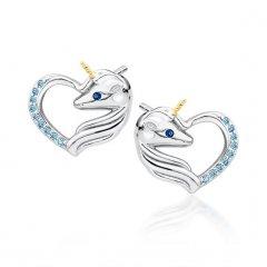 Stříbrné náušnice - jednorožec v tyrkysovém srdci, zlacený roh
