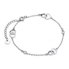 Stříbrný náramek spojené kroužky