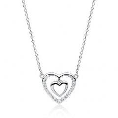 Stříbrný náhrdelník srdíčko v srdci