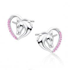Stříbrné náušnice - jednorožec v srdci, růžové zirkony