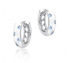 Jemné stříbrné náušnice kruhy s modrými zirkony