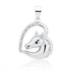 Stříbrný přívěsek kůň v srdci, černé oko