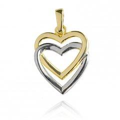 Zlaté srdce kombinované - bílé a žluté zlato