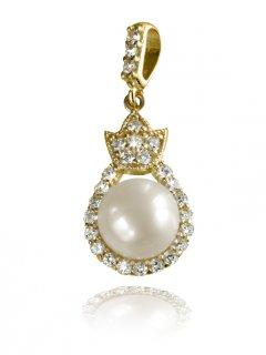 Zlatý přívěsek s perlou a zirkony