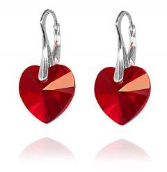 Náušnice Swarovski CRYSTALLIZED™ srdce 14 mm červená