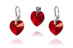 Souprava Swarovski CRYSTALLIZED™ srdce 14 mm červená