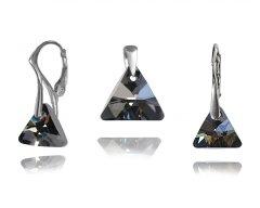 Stříbrná souprava Swarovski Triangle černá stříbřitá