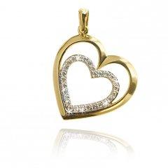 Zlatý přívěsek srdce dvojité se zirkony