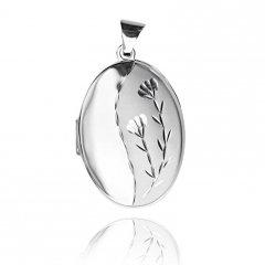 Stříbrný otvírací medailon ovál lesk/mat s rytinou