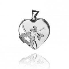 Stříbrný otvírací medailon - srdce s vážkou a květinou