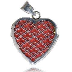 Luxusní stříbrný medailon srdce 20 x 18 červená