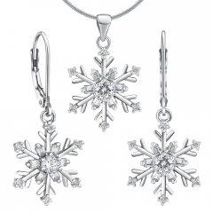 Set stříbrných náušnic a přívěsku - sněhové vločky