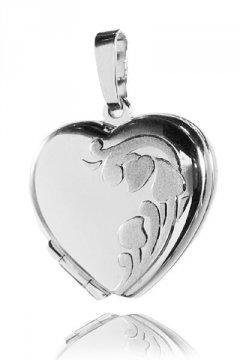 Stříbrný otvírací medailon - srdce s květinou