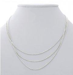 Trojřadý kuličkový stříbrný náhrdelník