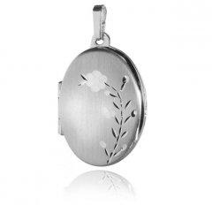 Stříbrný otvírací medailon - ovál s květinou