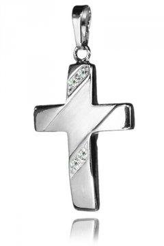 Stříbrný přívěsek - křížek se zirkony 22 mm
