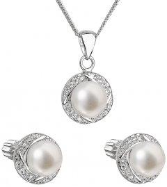 Decentní stříbrná perlová souprava s řetízkem