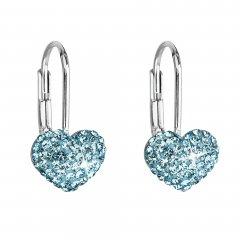 Stříbrné náušnice s krystaly Swarovski srdce modré