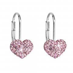 Stříbrné náušnice s krystaly Swarovski srdce růžové