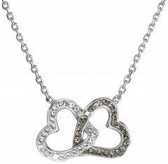 Stříbrný náhrdelník Swarovski černé a čiré srdce