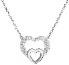 Stříbrný náhrdelník s krystaly Swarovski srdíčko v srdci