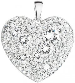 Stříbrné srdce poseté čirými krystaly Swarovski