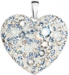Stříbrné srdce poseté modrými krystaly Swarovski