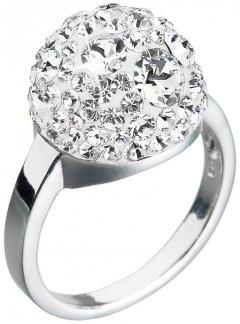 Stříbrný prsten Swarovski půlkulatý