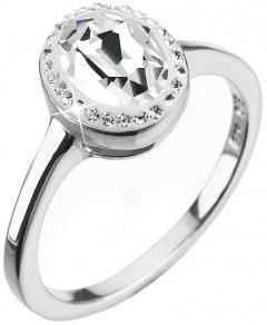 Stříbrný prsten s oválným krystalem Swarovski