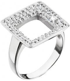 Stříbrný prsten s krystaly Swarovski - čtverec