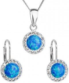 Stříbrná souprava s opálem a krystaly Swarovski modrá