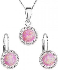 Stříbrná souprava s opálem a krystaly Swarovski růžová