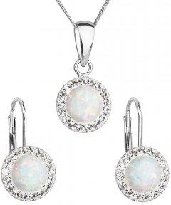 Stříbrná souprava s opálem a krystaly Swarovski bílá
