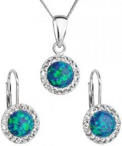 Stříbrná souprava s opálem a krystaly Swarovski zelená