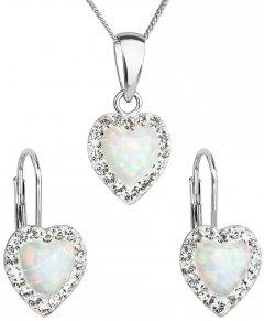 Stříbrná souprava s opálem a krystaly Swarovski srdce bílá