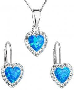 Stříbrná souprava s opálem a krystaly Swarovski srdce modrá
