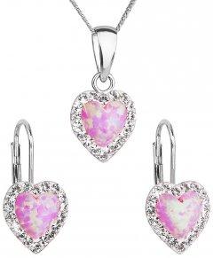 Stříbrná souprava s opálem a krystaly Swarovski srdce růžová