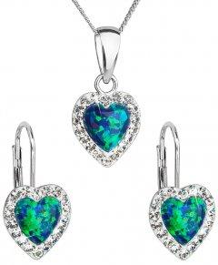 Stříbrná souprava s opálem a krystaly Swarovski srdce zelená