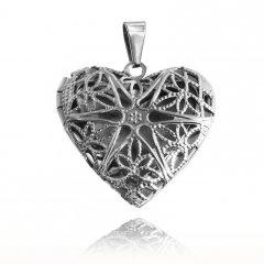 Ocelový otvírací medailon srdce prořezávané