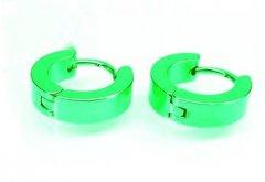Ocelové náušnice kloubové zelené