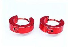 Ocelové náušnice kloubové červené