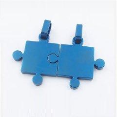 Partnerské přívěsky z oceli - modré puzzle