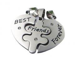 Ocelové přívěsky pro tři Best Friends Forever